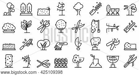 Tree Trimming Icons Set Outline Vector. Tree Woodcutter. Work Forest Trimming