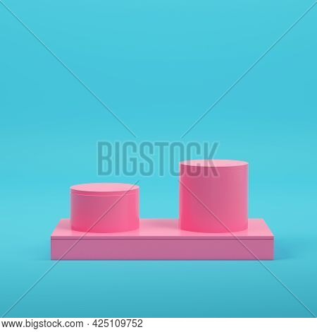 Pink Rectangle Podium With Two Cylinders For Product Display On Bright Blue Background In Pastel Col