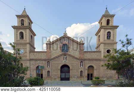 View Of The Facade Of The Archpriestly Parish Of The Immaculate Conception, In Torrevieja, Alicante,