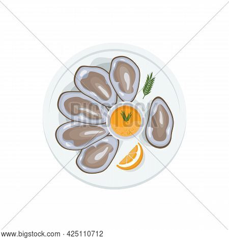 International Oyster Day. Clams In Shell, Open Oysters On Plate With Sauce. Seafood Menu. Mediterran