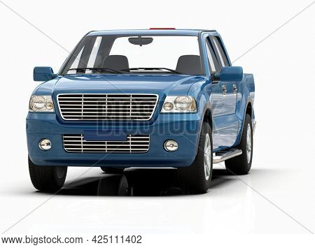 Generic and Brandless Pickup Truckwith Enclosed CabinIsolated on White 3d Illustration, Contemporary Light-Duty Truck Studio, Utility Vehicle UteAuto Transport, PickupOpen Cargo AreaVehicle Sign