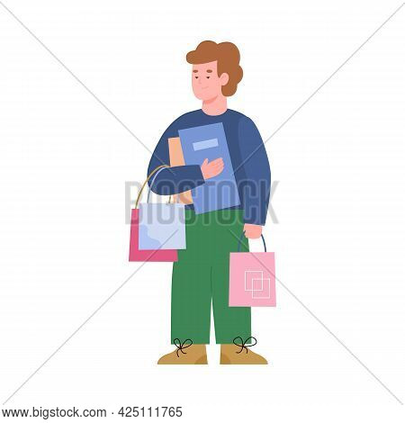Happy Shopper Boy Hold Lot Of Shopping Bags, Packages And Gifts.