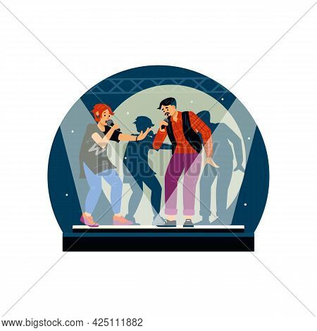 Karaoke Singers Performance Or Competition, Flat Vector Illustration Isolated.