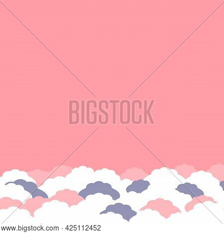 Empty Pink Background With Abstract Fluffy White And Pink Clouds In Pastel Color. Background For Web