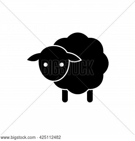 Baby Sheep Icon. Vector Drawing. Lamb Black Silhouette On White Background.