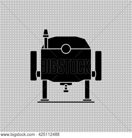 Electric Wood Plunge Router. Power Tool. Vector Drawing. Silhouette On Transparent Background.