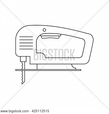 Electric Wood Jig Saw. Сarpentry Jigsaw. Power Tool. Linear Outline Vector Drawing On White Backgrou