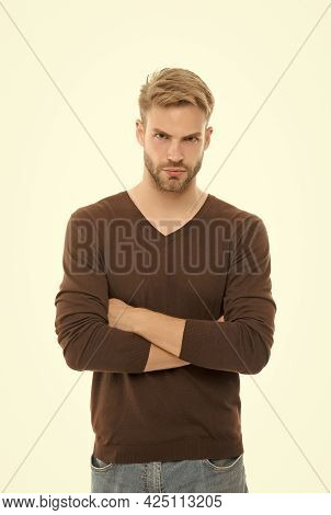His Perfect Style. Young Guy With Bristle Isolated On White. Male Beauty. Barbershop Concept. Groomi