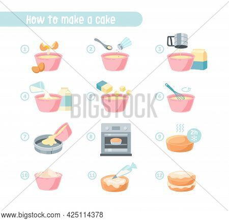 Preparing Dough Dishes And Cream For Pastry. Baking Ingredients And Food Preparation Signs. Flour Do