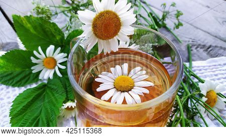 Chamomile And Chamomile Tea. Medicinal Chamomile In A Cup With Infusion. Cool Summer Drink.