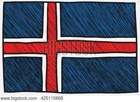 Norwegian Flag Sketch. Doodle Style Hand Drawn Vector Illustration
