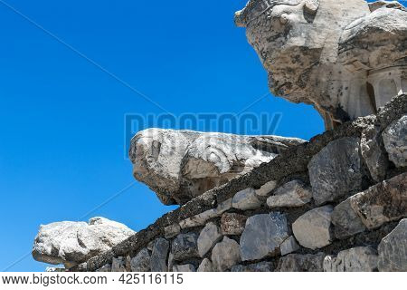 Ephesus, Turkey - June 4, 2021: This Is A Fragment With Bulls-headed Figures Above The Entrance To T