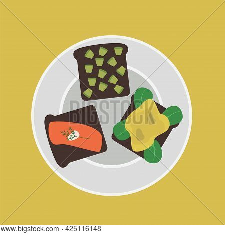 3 Sandwiches With Red Fish, Dill, Avocado. Healthy Snack Of Vegetables And Fish.