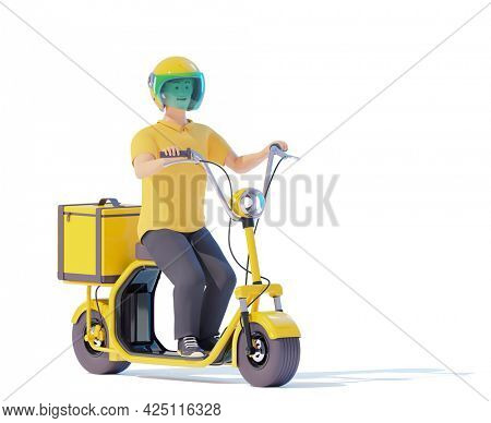 Electric scooter delivery courier with parcel bag. Courier deliveryman riding fat tire electric scooter with thermal bag. Man delivering food. 3d illustration. Express delivery concept