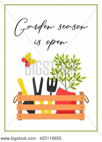 A Rectangular Vertical Postcard With A Box Of Garden Tools, A Pruner, A Potted Plant And A Butterfly