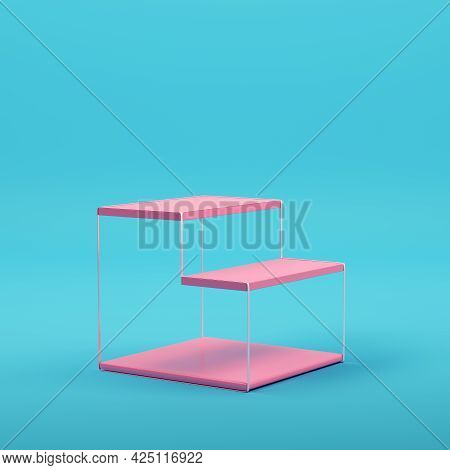 Pink Empty Product Display Stand On Bright Blue Background In Pastel Colors. Minimalism Concept. 3d