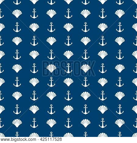 Nautical Seamless Pattern With Shells And Anchors On Blue Background. Ship And Boat Steering Wheel O