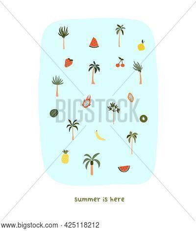 Cute Hand Drawn Tiny Summer Palm Trees And Fruits Watermelon, Dragonfruit, Papaya. Cozy Hygge Scandi