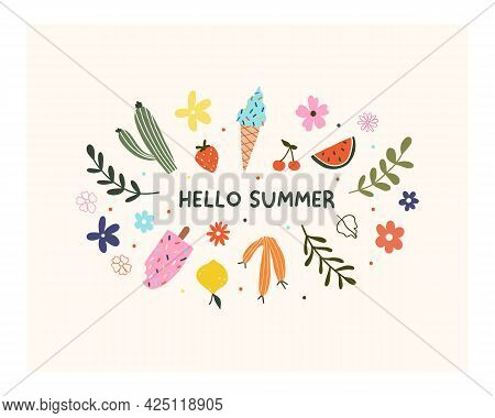 Hand Drawn Hello Summer Flower, Fruits, Ice Cream And Leaves Isolated On White Background. Cute Hygg