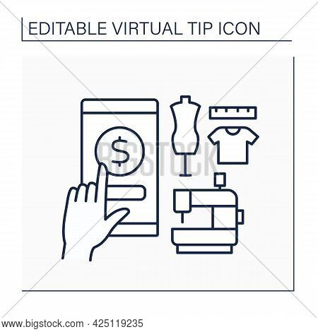 Seamstress Service Line Icon. Donation For Sewing Clothes. Virtual Tips Concept. Isolated Vector Ill