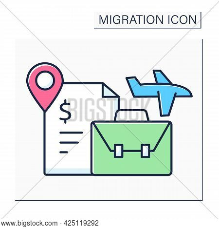 Labour Migration Color Icon. Movement To Another State To Find Job. Better Living Conditions. Work V