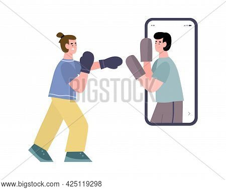 Vector App For Sport Online Workout On Boxing And Physical Exercises For Fighter
