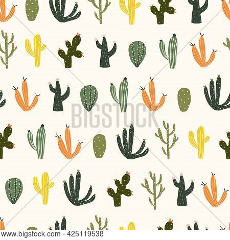 Seamless Pattern With Cute Hand Drawn Cacti With Thorns. Cozy Hygge Scandinavian Style Template For
