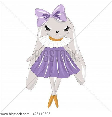 Cute Bunny In A Smart Dress. Dolly Style Hare In Dress And With A Bow On His Head. Vector Illustrati