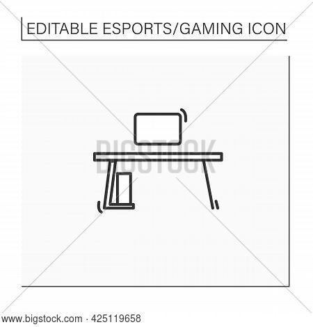 Gaming Desk Line Icon. Comfortable Table For Playing Games. Furniture. Cybersport Concept. Isolated