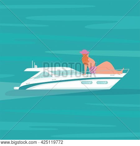 Modern Speed Yacht With Body Positive Woman In Ocean, Sea. Summer Vacation Seaside Concept. Vector S