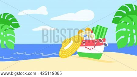 Summer Vacation Horizontal Banner. Summer Bag With Beach Stuff In Sand And Palm Leaves On Tropical I
