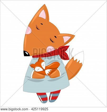 Stylish Red Fox Mom In An Elegant Dress And A Scarf Tied Around Her Neck With A Little Baby Fox In H