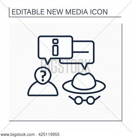 Anonymous Line Icon. Anonymous Communication. Private Chat. Interact Around Information Anonymously.