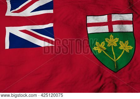 Full Frame Close-up On A Waving Flag Of Ontario (canada) In 3d Rendering.