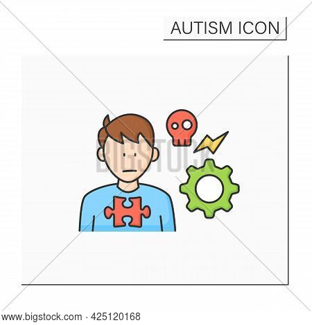 Neurodevelopmental Disorder Color Icon.self Abusive Behaviors. Physical Injury.head-hitting, Banging
