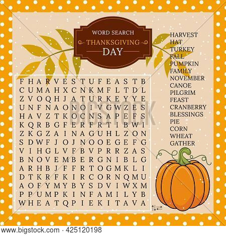 Thanksgiving Day Word Search Puzzle. Logic Game For Learning English Words. Holiday Festive Crosswor