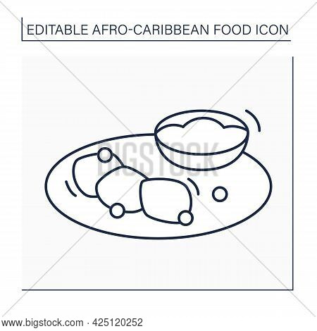 Akara And Ogi Line Icon. Peeled Beans Formed In Balls And Fermented Cereal Pudding. Afro-caribbean F