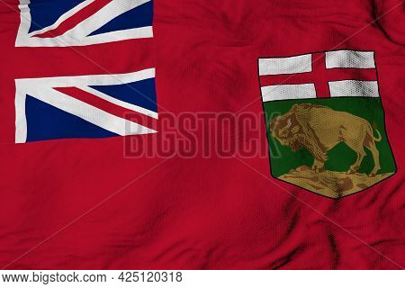 Full Frame Close-up On A Waving Flag Of Manitoba (canada) In 3d Rendering.