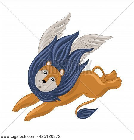 Red Lion With A Mane With Wings. Mystical Animal Lion With Legendary Wings. Vector Illustration