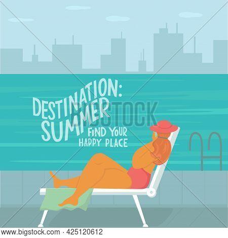 Body Positive Woman Near Swimming Pool On Skyscraper Urban City Landscape Background. Summer Vacatio