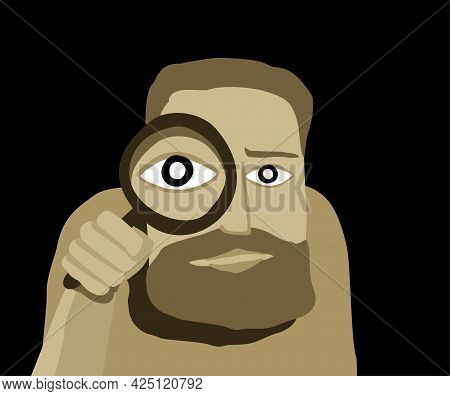 Search Concept - Abstract Male Character Using Magnifying Glass For Research, Organisation Or Optimi
