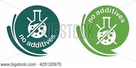 No Preservatives, No Additives Dye Free Pictogram - Strikethrough Lab Tube - Vector Packaging Label