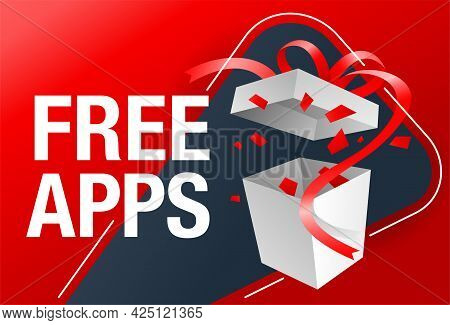 Free Apps Web Banner Template - Special Offer - Unpaid Mobile Applications. Vector Illustration