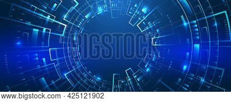Hi-tech Vector Illustration With Various Technology Elements. Wide Cyber Security Internet And Netwo