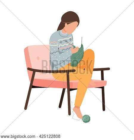 Woman In Warm Patterned Sweater Knitting In Armchair Flat Icon Vector Illustration
