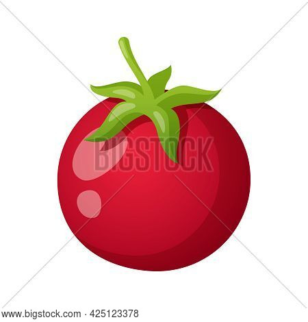 Cartoon Whole Red Tomato With Green Leaf On White Background Vector Illustration