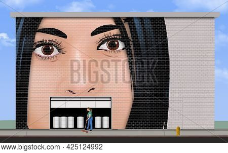 A Mural Of A Female Face Painted On A Building Has A Garage Door Where Her Mouth Should Be And The D