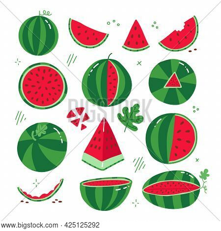 Big Set Of Different Watermelons Whole, Half, Piece, Bite Piece. Flat Style Logo On A White Backgrou