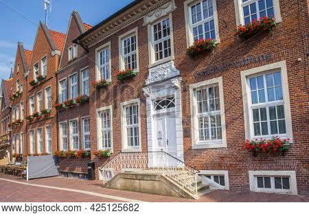 Meppen, Germany - June 16, 2021: Government Building Stadtverwaltung In The Center Of Historic City