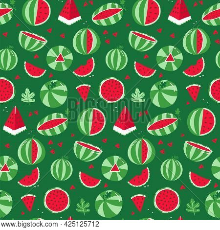 Watermelon Seamless Pattern. Whole Striped Watermelon And Red Slices With Seeds On A Green Backgroun